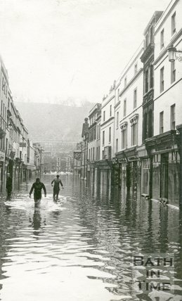 Southgate Street, Bath during the floods 1960