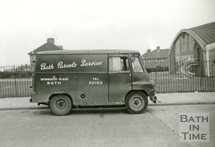 A Bath Parcels Service van at an unidentified location late 1950s