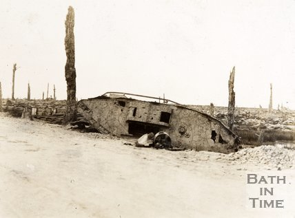 Wreck of a tank on the Menin Road, Ypres, Belgium