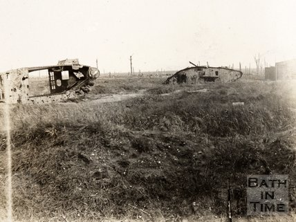 Two wrecked tanks near Menin Road, Ypres, Belgium