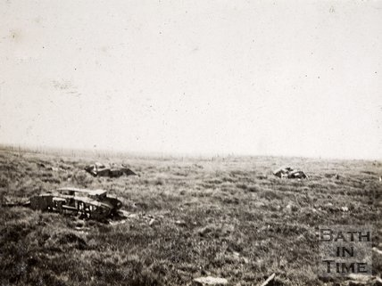 Wrecked tanks in field, near Hooge, Belgium