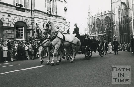 Queen Victoria followed by Parliamentary leaders of the Period, Monarchy 1000 Procession, May 1973, Bath