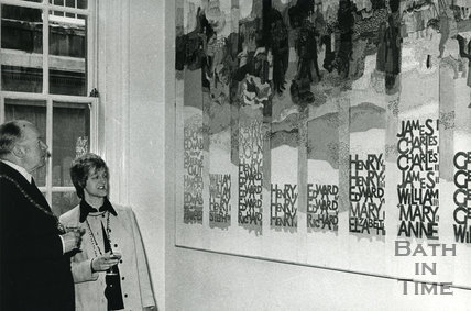 Monarchy 1000 Tapestry in Pump Room by Audrey Walker, May 1973, Bath