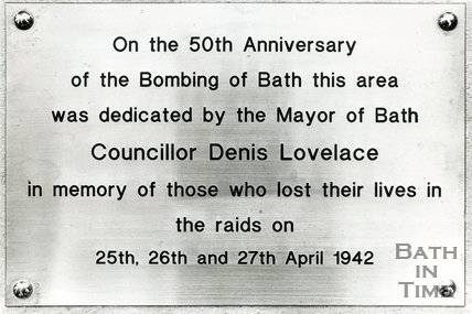 Inscription on memorial at Oldfield Park, 25th April 1992, Bath