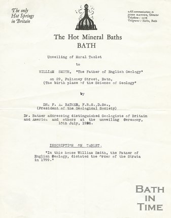 Dedication for the memorial tablet to William Smith outside No.29 Great Pulteney Street, Bath, 10 July 1926