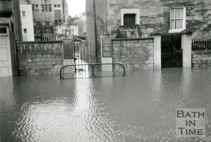 The entrance to Widcombe Primary School, Pulteney Road during the Bath Flood, December 1960