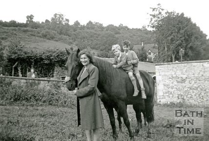 A family group with a horse in Charlcombe, near Bath, c.1947