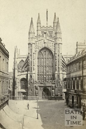 The west front of Bath Abbey and Abbey Church Yard, Bath c.1866