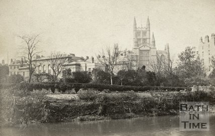 Bath Royal Literary and Scientific Institute and Bath Abbey from the River Avon, Bath c.1868