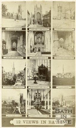 A multi-view carte de visite showing 12 views of Bath c.1868