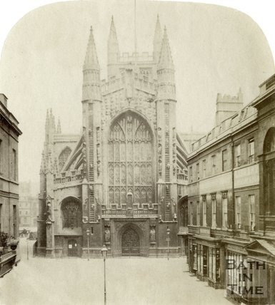 The west front of Bath Abbey from Abbey Church Yard, Bath c.1860