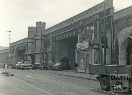 Brunel's railway viaduct and Lower Bristol Road, Bath c.1960
