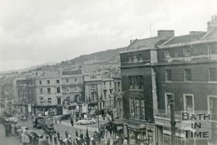 Cleveland Terrace and Cleveland Place East from Walcot Parade, Bath c.1948