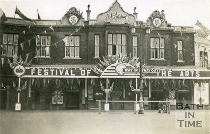 Bath Spa Station decorated for the inaugural Bath Festival of the Arts, Bath 1948