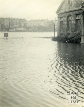 The flooded Recreation Ground and Pavilion, Bath 1954