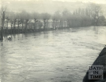 The River Avon looking towards the Recreation Ground, Bath during the floods 1954