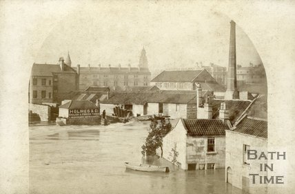 Dolemeads and the area downstream of St. John's Roman Catholic Church during the Bath flood 1882