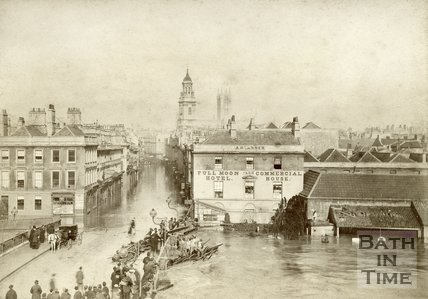 Southgate Street and the Old Bridge, Bath during the floods 1882