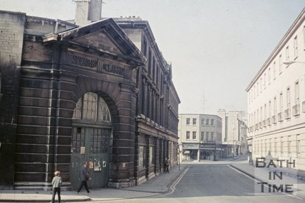 Spear ad Clark slaughterhouse on the corner of Old Orchard Street and Newark Street, Southgate, Bath, c.1968