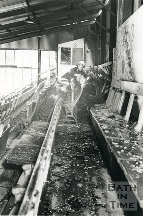 The aftermath of a fire at Twerton Park, Bath, 17 September 1990