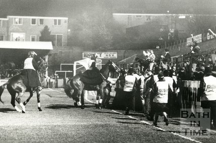 Crowd trouble at Twerton Park, Bath, 27 November 1989
