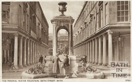 Postcard view of the Mineral Water Fountain, Bath Street, Bath, c.1930s