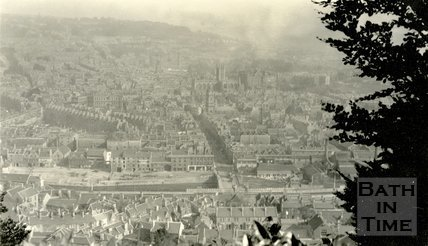 View through the trees of Bath from Beechen Cliff, c.1920s