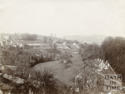 View from Wellsway looking across to Greenway Lane, Bath, c.1890