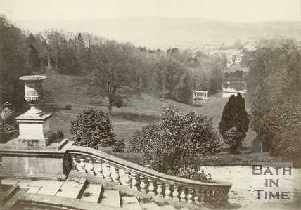 View from the terrace of Prior Park towards the Palladian Bridge, c.1900
