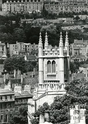 View of St Mary's church from Bathwick Hill, 1964