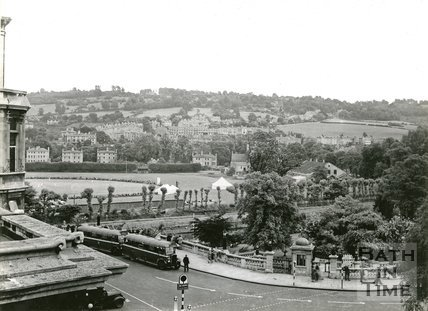 View from the Guildhall across to the Recreation Ground, Bath, c.1950