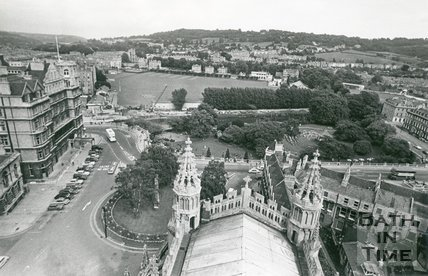View from Bath Abbey tower looking down over Orange Grove and across to the Recreation Ground, Bath, c.1971