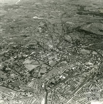 1954 Aerial view of Bath, Lansdown and the countryside beyond towards Bathford