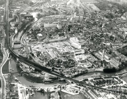 1971 Aerial view of Southgate are of Bath under construction