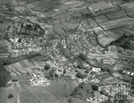 1972 Aerial view of Northend, St Catherines and Elmhurst, Batheaston, 22 May