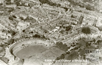 c.1950 Aerial view of Royal Crescent, Bath with allotments