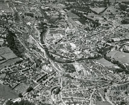 1965 Aerial view of Bath looking wear along the Lower and Upper Bristol Roads