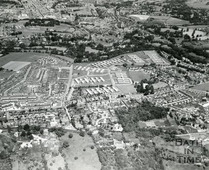 1975 Aerial view of Combe Down, Foxhill MOD site with Bath in the background