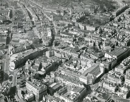 1960 Aerial view of Bath looking towards Queen Square and Kingsmead Square