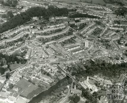 c.1965 Aerial view of Beacon Hill, Snow Hill and Camden, Bath