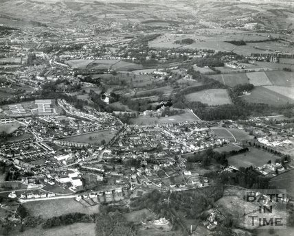 1960s Aerial view of Combe Down, Prior Park and the distant city of Bath