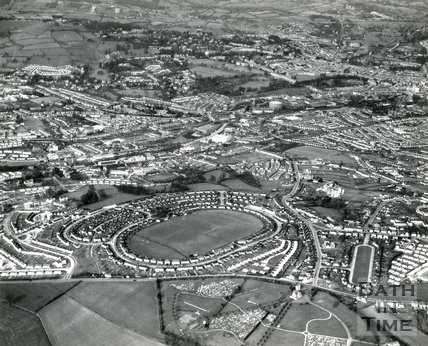 1960s Aerial view of Whiteway, Haycombe Cemetery, Southdown , Oldfield Park and Bath