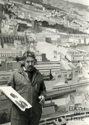 Roger Hallett, the creator of the Bath Panorama, 5 April 1984