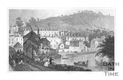 Beachen Cliff (Beechen Cliff and Widcombe), from the Banks of the Avon, 1829