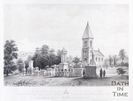 View of the Bath Abbey Cemetery, Lyncombe Vale, 1850