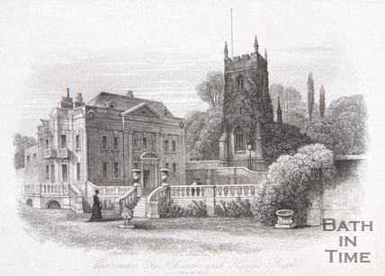 Widcombe Old Church and House, Bath, from the West, 1844
