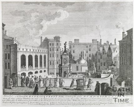 A View of the King and Queen's Baths, including the Great Pump Room at Bath, 1764