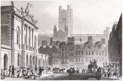 The Guildhall and Cathedral, from the High Street, Bath, 1829