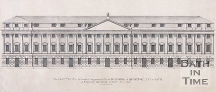 The Elevation to the South, of the principle Pile of Building of Queen Square in Bath as designed by John Wood, Architect, AD 1728, 1749