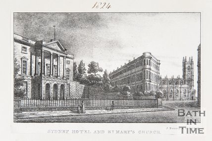 Sydney Hotel and St. Mary's Church, Bath, 1823